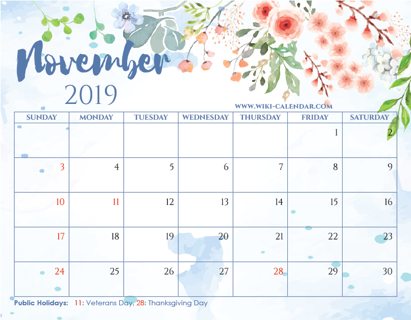 graphic relating to Printable November Calendars called Blank November 2019 Calendar Printable upon We Centre It