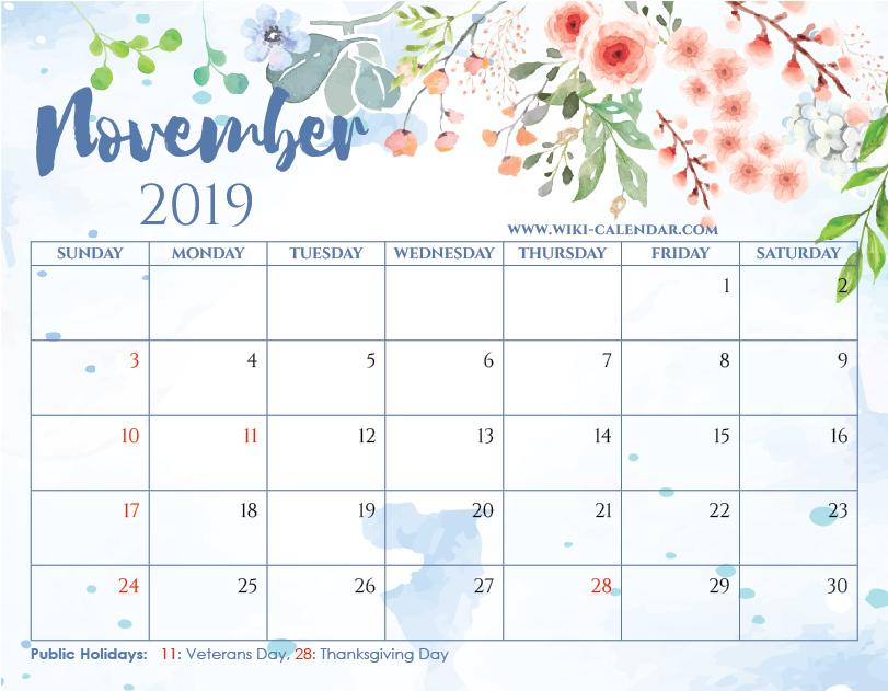 photo regarding Printable Nov. Calendar titled Blank November 2019 Calendar Printable upon We Middle It