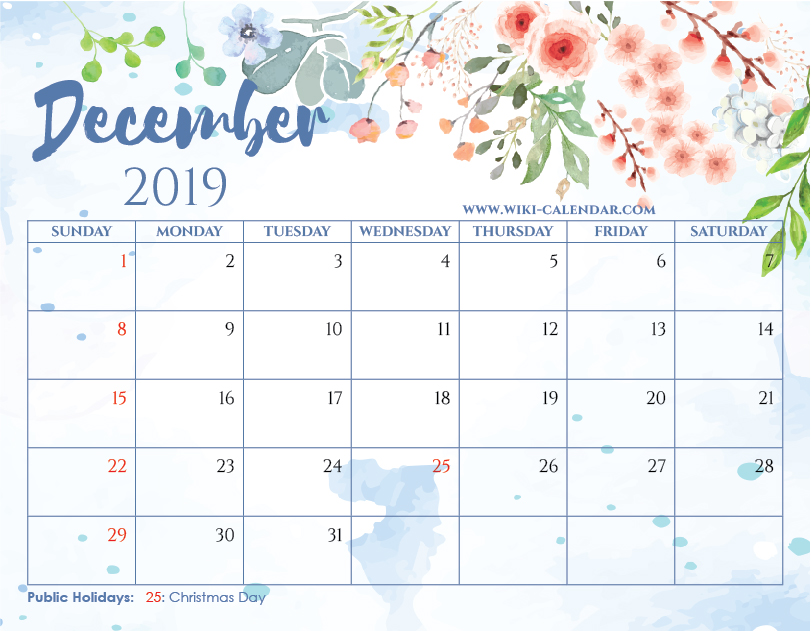 Picture Of Calendar For December 2019 Blank December 2019 Calendar Printable on We Heart It