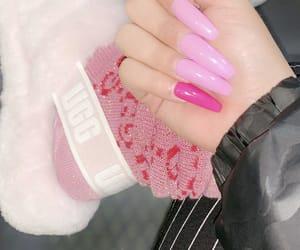 girl, pink, and nails image