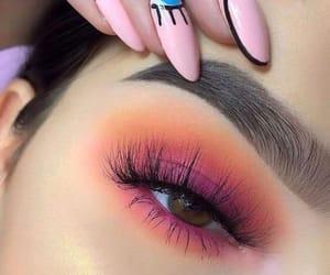 makeup, nails, and pink image