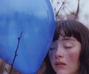 balloon, blue, and girl image