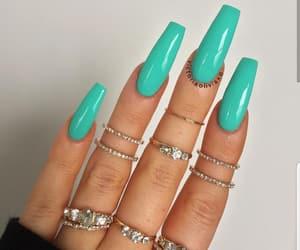 nails, acrylic, and rings image