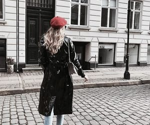 beret, black coat, and patent leather image