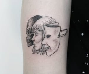 blackandwhite, mask, and tattoo image