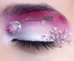 flowers, eye, and makeup image