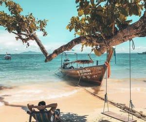 beach, landscape, and sun image