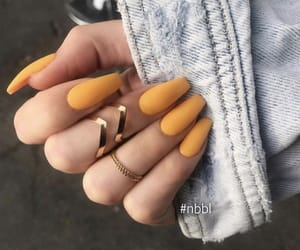nails, yellow, and rings image