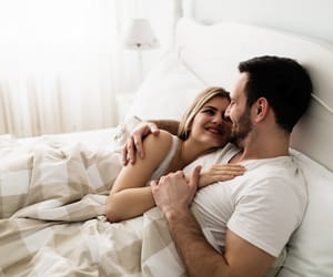 bed, couple, and cuddling image