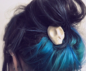 hair, blue, and skull image