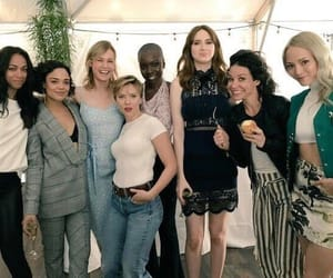 zoe saldana, Scarlett Johansson, and karen gillan image