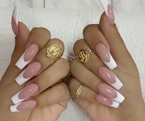 french, gold, and nails image