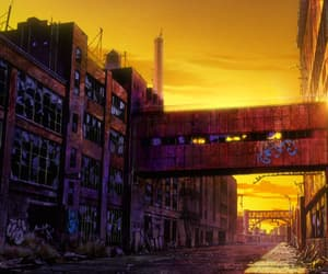anime, graffiti, and scenery image