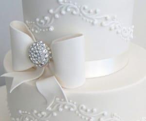 bride and groom, wedding, and wedding cake image