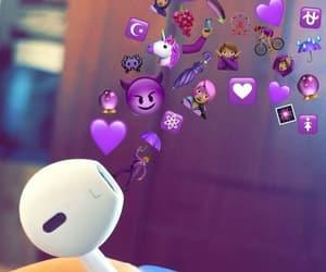 earphones, purple, and wallpaper image