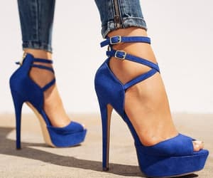 heels, shoes, and blue image