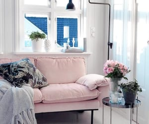 couch, design, and flowers image