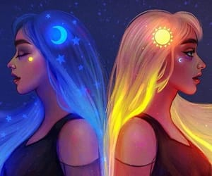 girls, moon, and sun image
