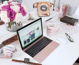 chic, coffee, and desk image