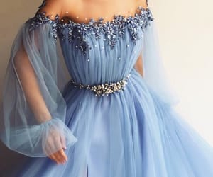 dress, blue, and flowers image