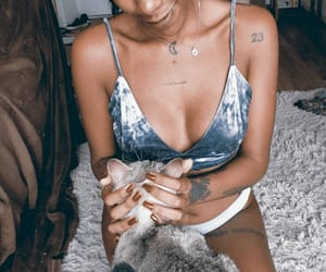 black girl, cat, and girl image