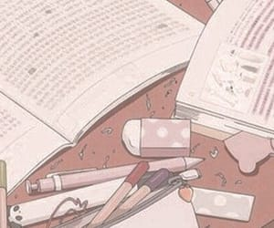 anime, pink, and study image