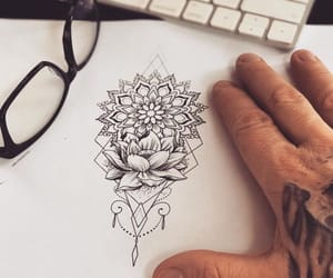 drawing, flower, and grey image