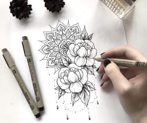 drawing, flowers, and tattoo image