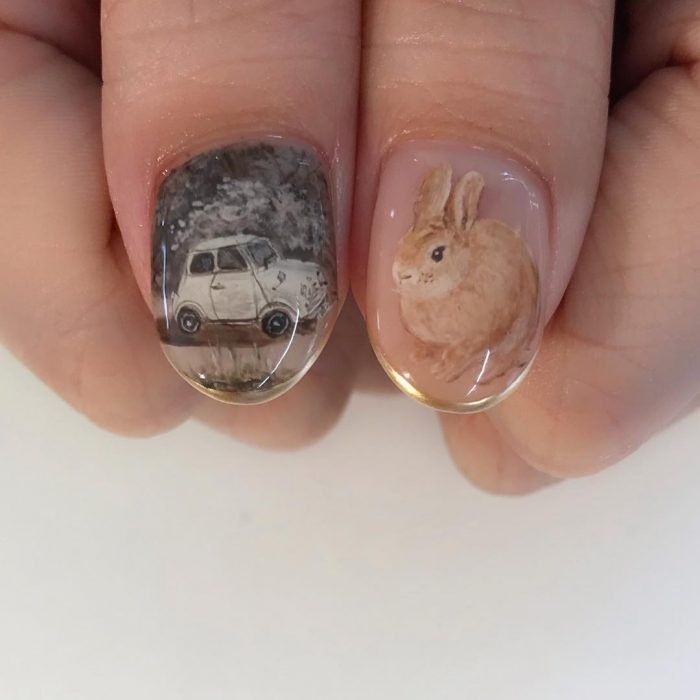 nails, art, and bunny image