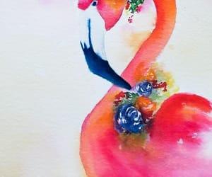 art, flamingo, and drawing image