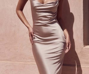 dress, fitted, and tan image