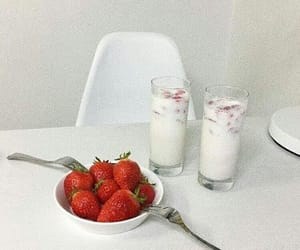 strawberry, white, and aesthetic image