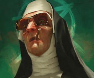 cigarette, tough, and nun image