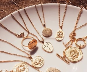 jewelry, gold, and necklaces image