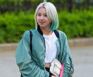 twice, musicbank, and blonde blue hair image