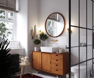 bathroom, plants, and vanity image