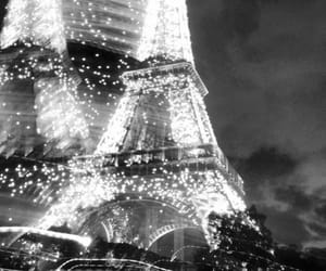 paris, lights, and black and white image