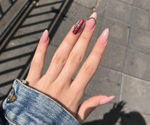 acrylic, red nails, and nude nails image