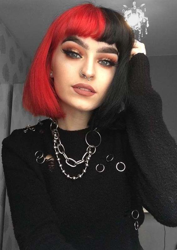 dyed hair, hair, and colourful hair image