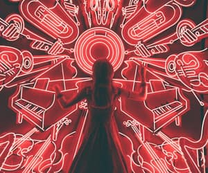 music, neon, and red image