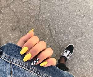 checkerboard, nails, and yellow image