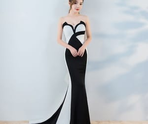 black, white, and mermaid dresses image