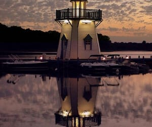 lighthouse and reflection image