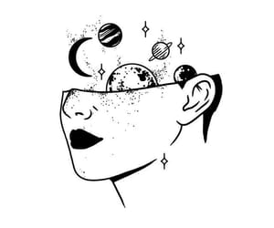 galaxies, girl, and illustration image