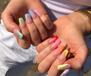 nails, girl, and rainbow image