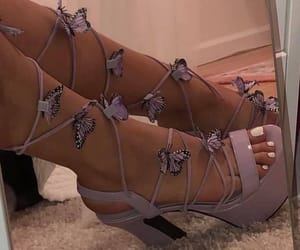 butterflies, heels, and light purple image
