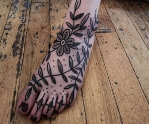 fern, flower, and foot tattoo image