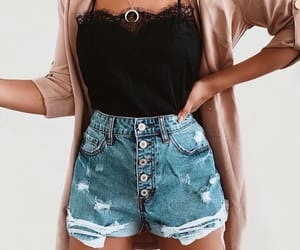fashion, black top, and outfit image