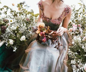 dress, flowers, and fairytale image