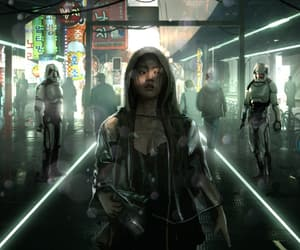 futuristic, girl, and robots image